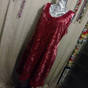 """Nicole """"Red Pepper"""" Crush Velvet Mini Dress XL NWT"""